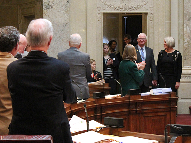 Standing ovation from the state legislature