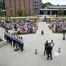 A wedding event being held at the Amphitheater at the MSC.