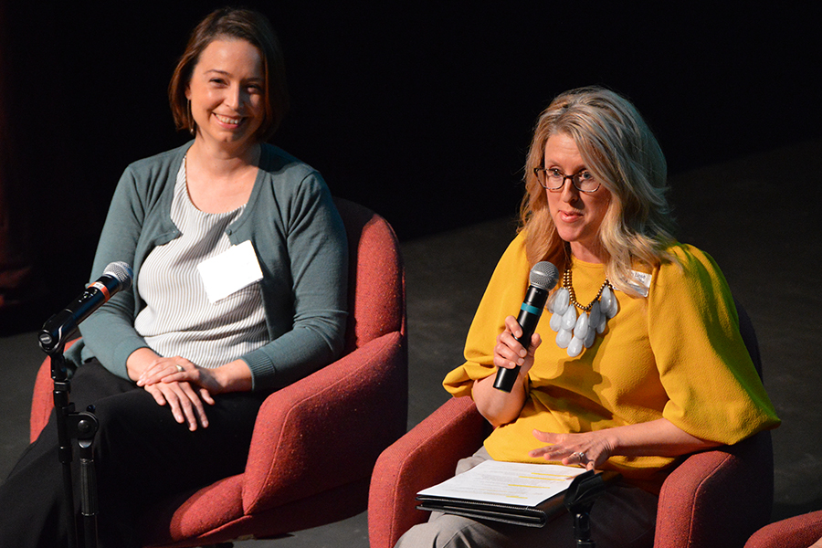 A panel discussion took place on collective impact. Panelist Cristy Linse, director of the Initiative to Create the UW-Stout Center for the Study and Promotion of Health and Wellbeing addresses the summit.
