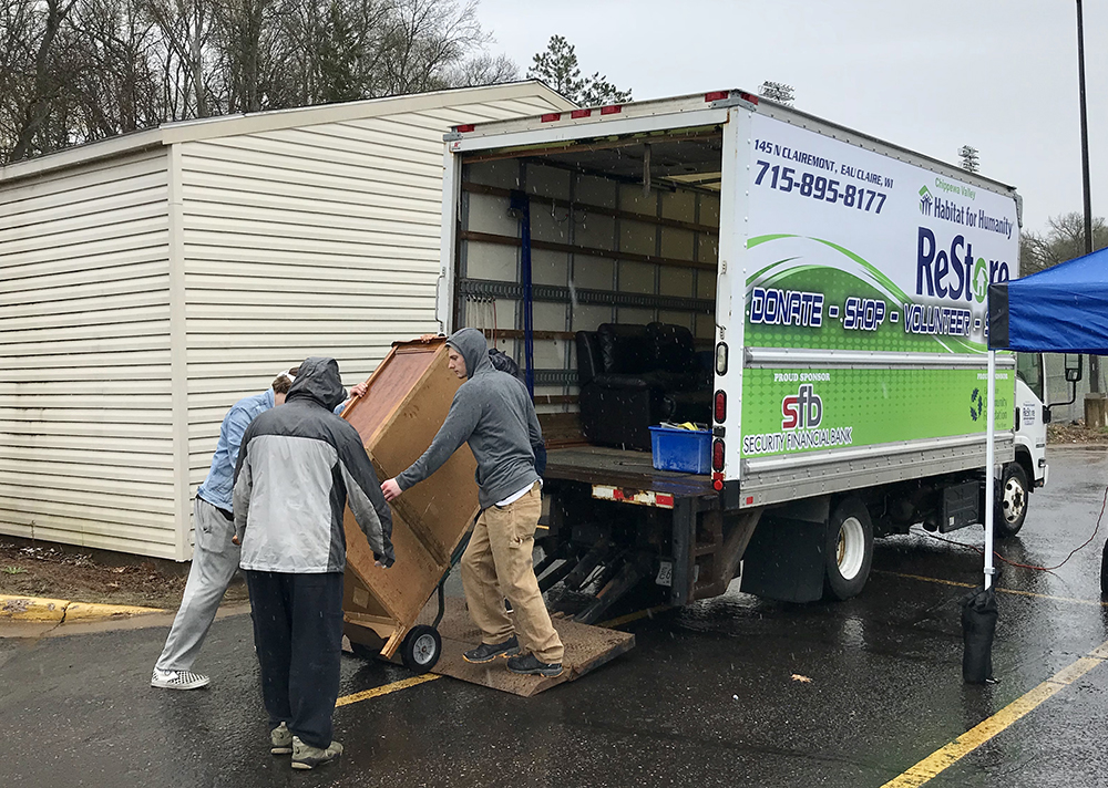 Students were able to properly dispose of televisions for recycling during the move out. The move out prevents items from being left on streets or by dumpsters and items in good condition were donated to support Habitat for Humanity in Eau Claire.