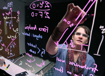 Photo of teacher using magic glass projection