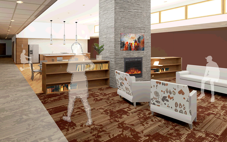Brehm's artistic rendering of an interior of a senior living center at Oakwood Mall.