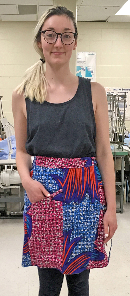 Cambria Sinclair models a finished adjustable skirt.