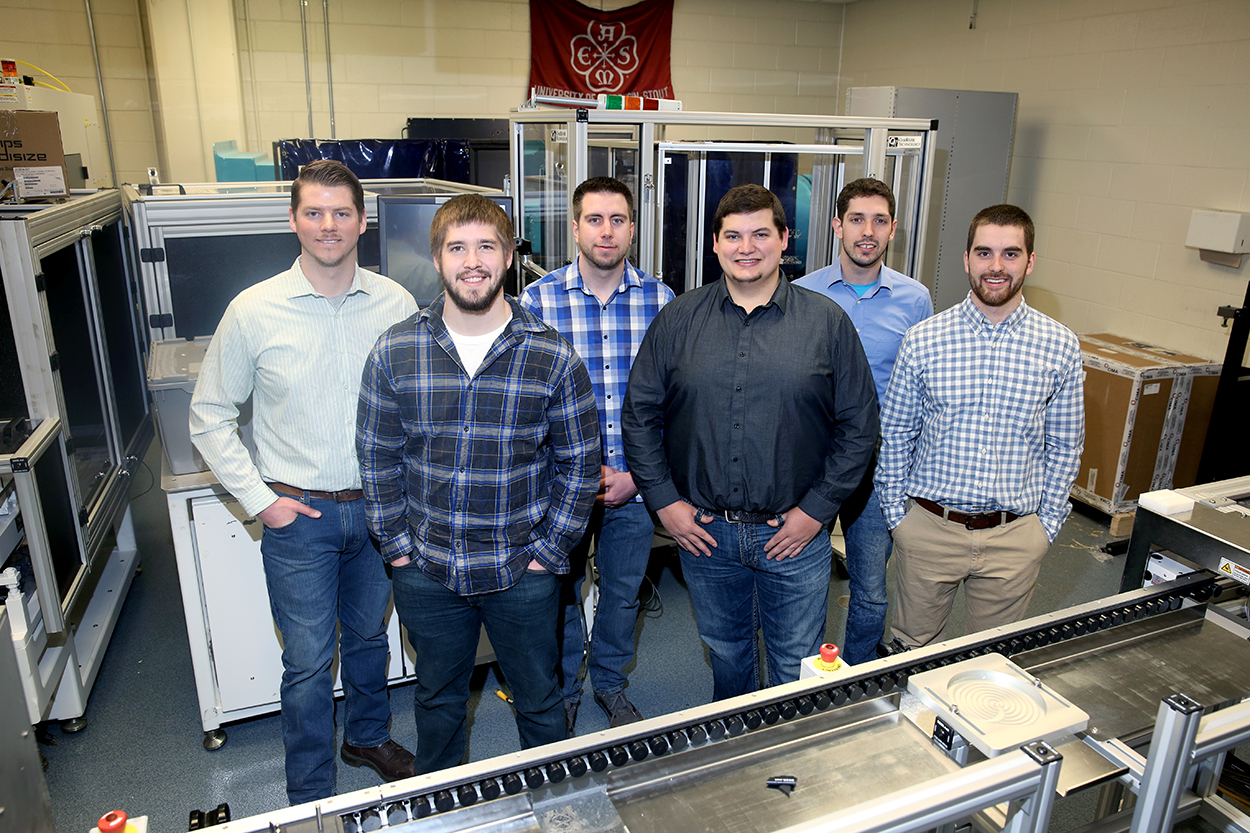 The six students who are the first UW-Stout mechanical engineer graduates are left to right, Steve Dillon, Jamison Noye, Ryan Monroe, Zachary Johnson, David Zalusky and Kevin Larson.