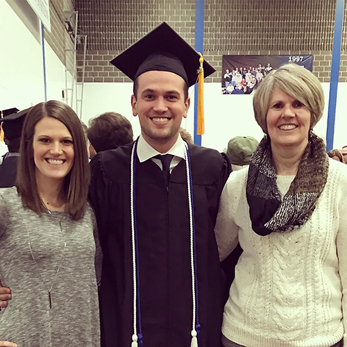 Ryan Knudtson celebrates his December 2018 graduation from UW-Stout with his sister, Bethany Halama, and his mother, Emily.
