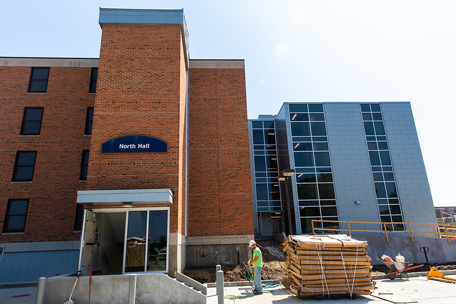 The renovation of North Hall includes this new entryway on the west side.