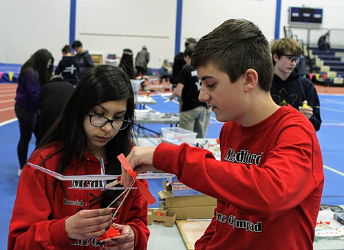 Students work on their entries in the Wisconsin Science Olympiad competition March 16 at UW-Stout.