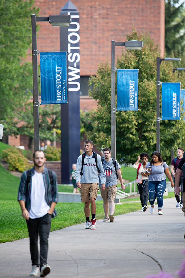 Students walk between buildings Wednesday, Sept. 4, at UW-Stout during the first day of 2019-20 fall semester classes.