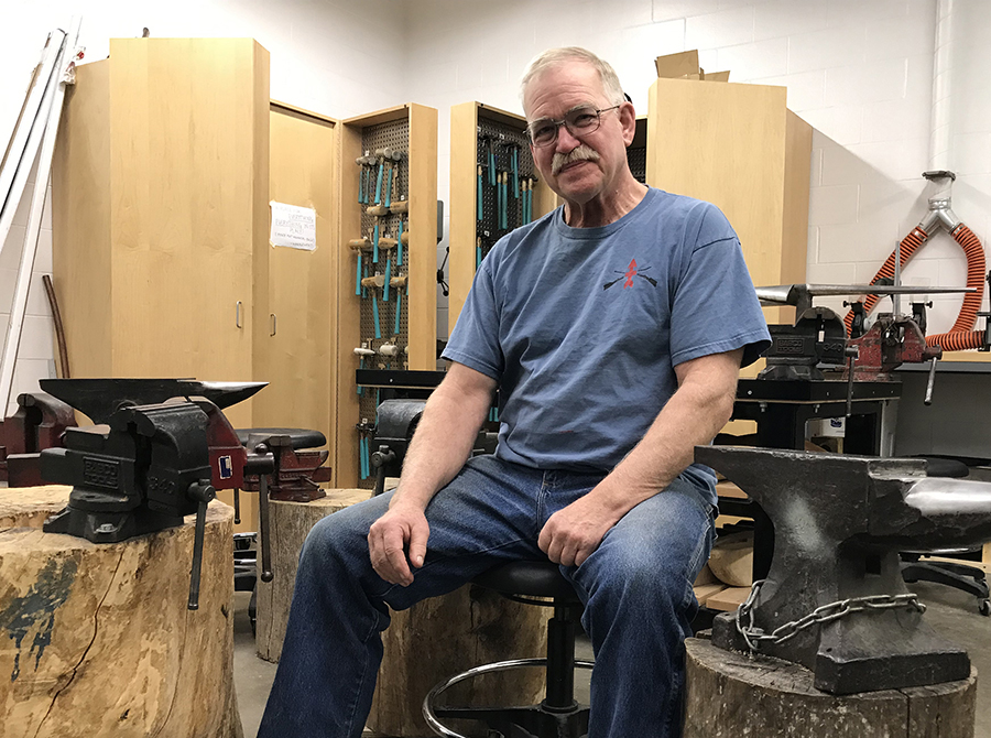 Arne Thompson is enjoying pursuing a second bachelor's degree, focusing on metals and contemporary art in UW-Stout's studio art major.