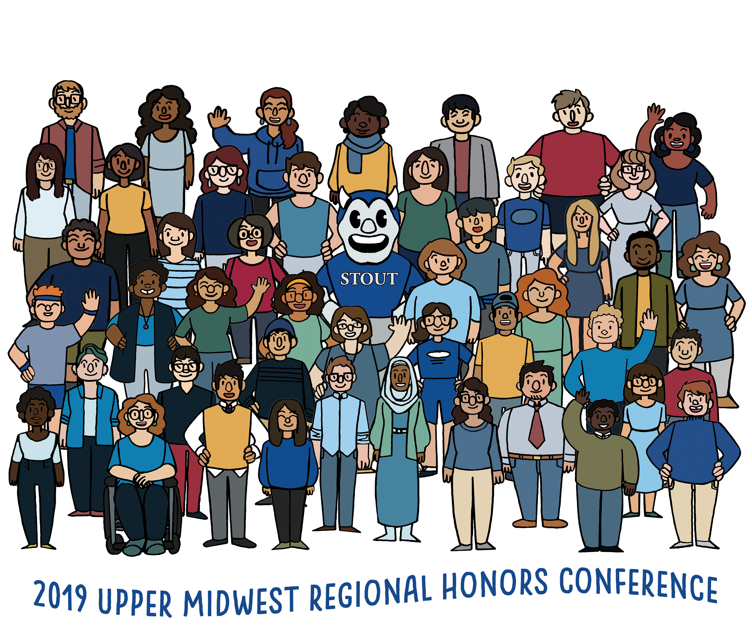 2019 Upper Midwest Honors Conference Logo - group of cartoon students and UW-Stout mascot Blaze