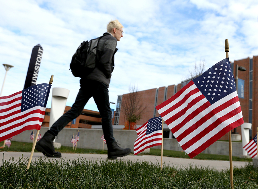 Flags to honor veterans will be placed in the amphitheater of the Memorial Student Center on Monday, Nov. 11, which is Veterans Day. A reading of the names will begin at 1 p.m.