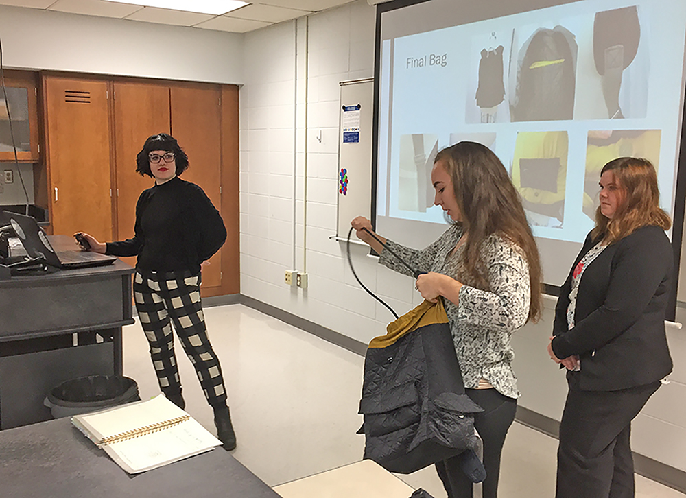 UW-Stout students created a Wanderer's Backpack that features an invisible pocket to keep valuable and a locked wire cable to prevent thieves from cutting the bag.
