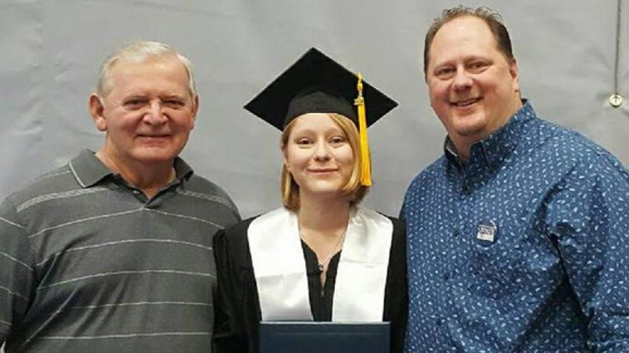 Jasmine Rothbauer with her grandfather Don Rothbauer, left, and father, Wayne Rothbauer. All three have degrees from UW-Stout.