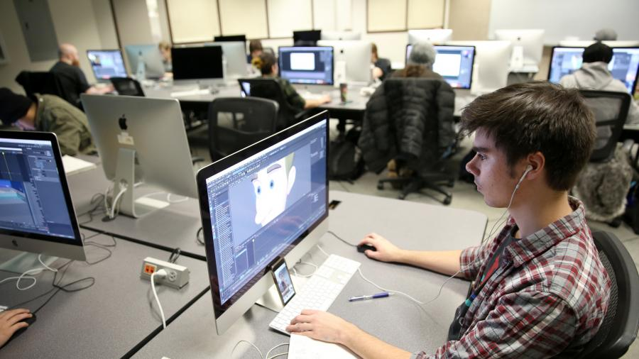 UW-Stout students work on projects recently in an Animation Studio class. / UW-Stout photo by Brett Roseman