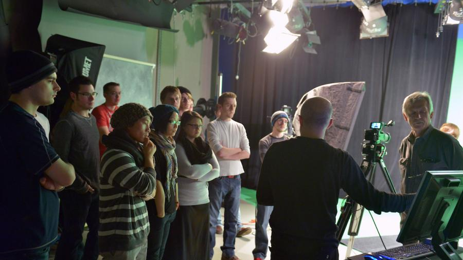 Ed Jakober's green screen demonstration during Digital Cinema Studio class