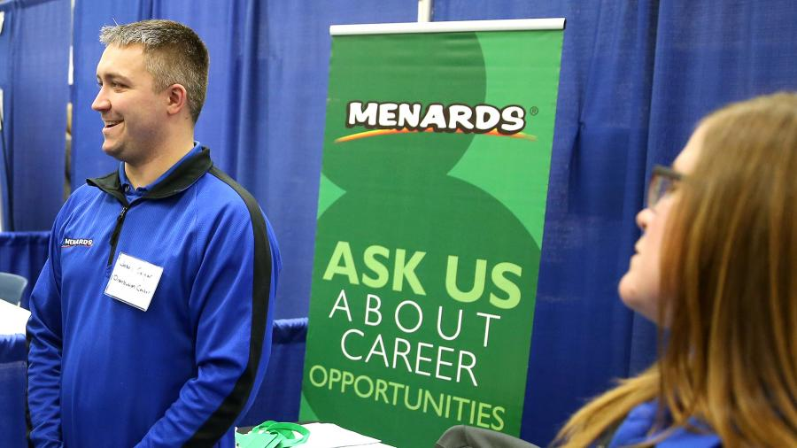 Menards recruiters take part in a 2018 Career Conference at UW-Stout.