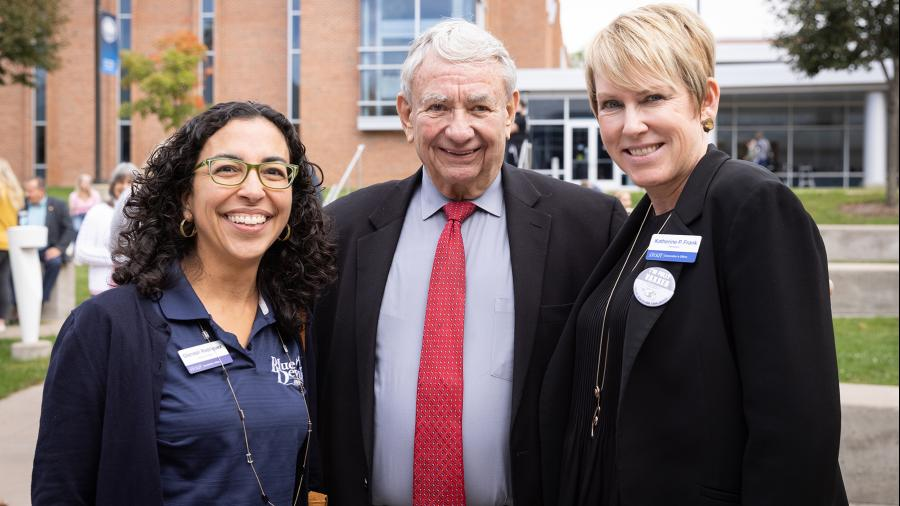 Chancellor Katherine Frank, right, and interim Provost Glendali Rodriguez attended the vaccination event with Tommy Thompson.
