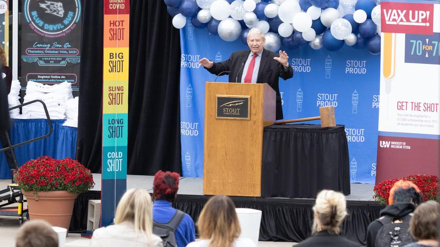 UW System President Tommy Thompson speaks at UW-Stout on Monday, Oct. 11, during an event to celebrate students reaching a 70% vaccination rate.