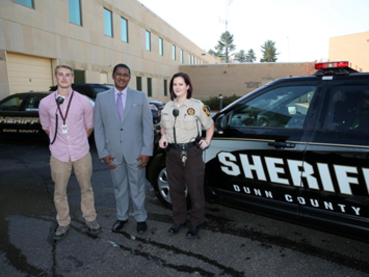 Hartkemeyer, left, is supervised by UW-Stout Assistant Professor Rodney Maiden and Heather Pyka, program director for the county jail.