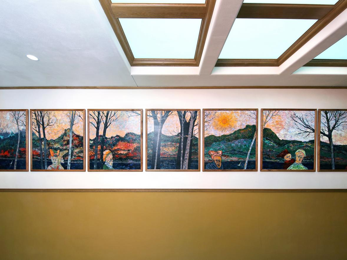"A series of seven pieces of art, ""Winnipeg Ghosts Among Dunn County Hills,"" is part of the Harvey Hall Art Tour on the fourth floor."