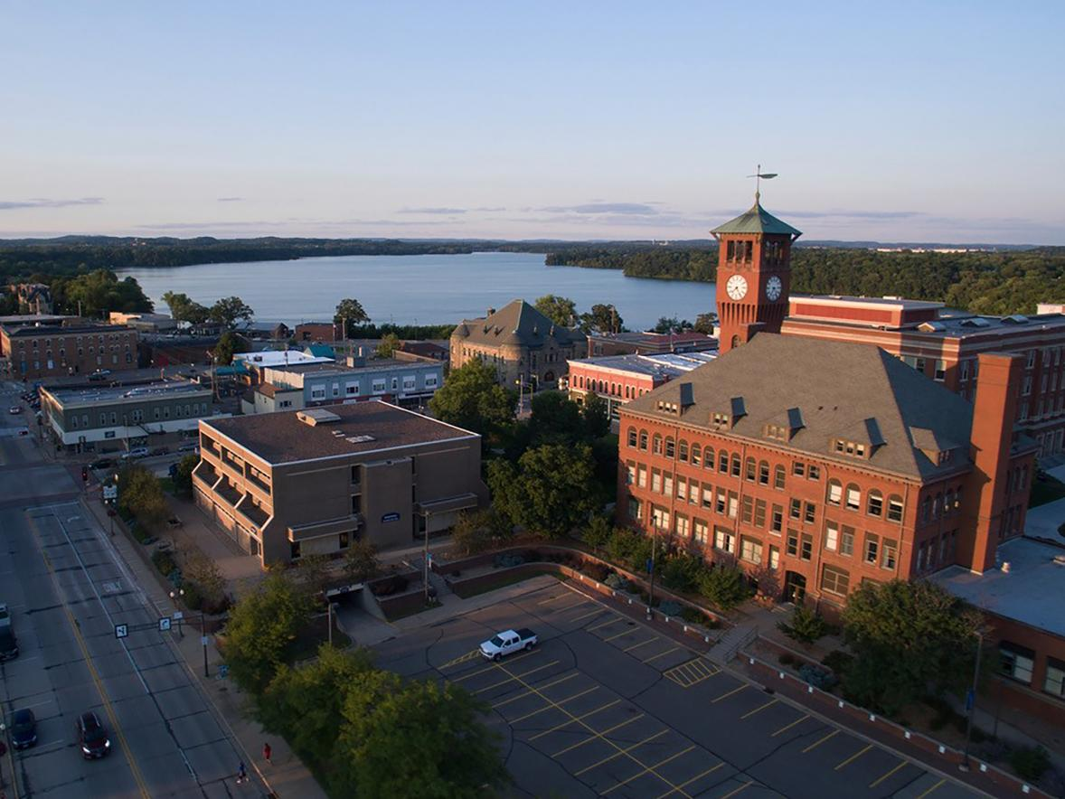 An aerial view of UW-Stout's Clock Tower and Lake Menomin.