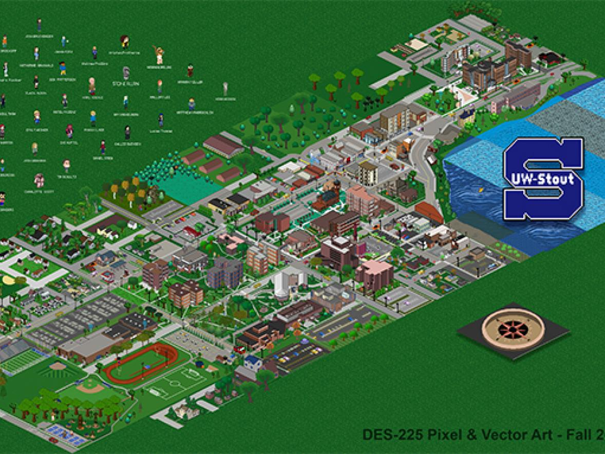 Uw Stout Campus Map Pixel and Vector Art students create campus map in pixel art style