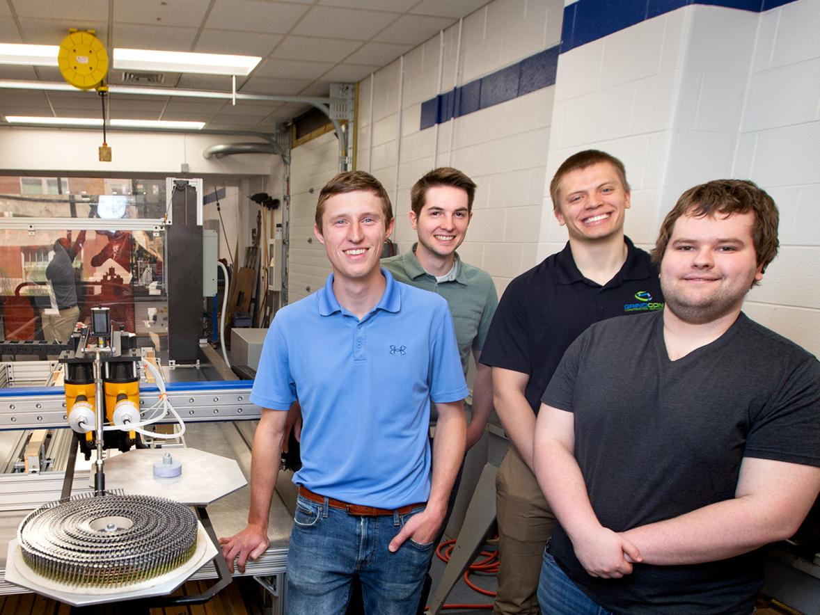 Left to right, engineering students Jordan Roessler, Reid Zaborowski, Zach Dahl and Alex Kowalczyk.