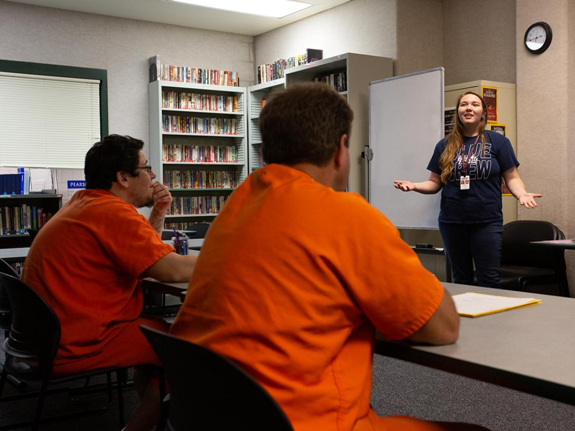 UW-Stout student Aarica Humke teaches a class  at the Dunn County jail entitled Parenting from the Inside that she developed. / UW-Stout photo by Chris Cooper