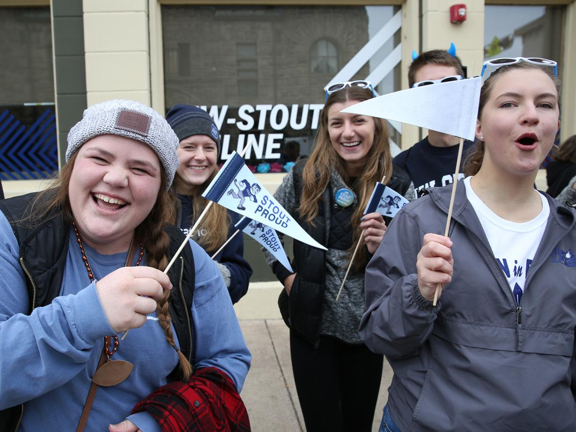 Students have fun during the 2018 UW-Stout homecoming parade.