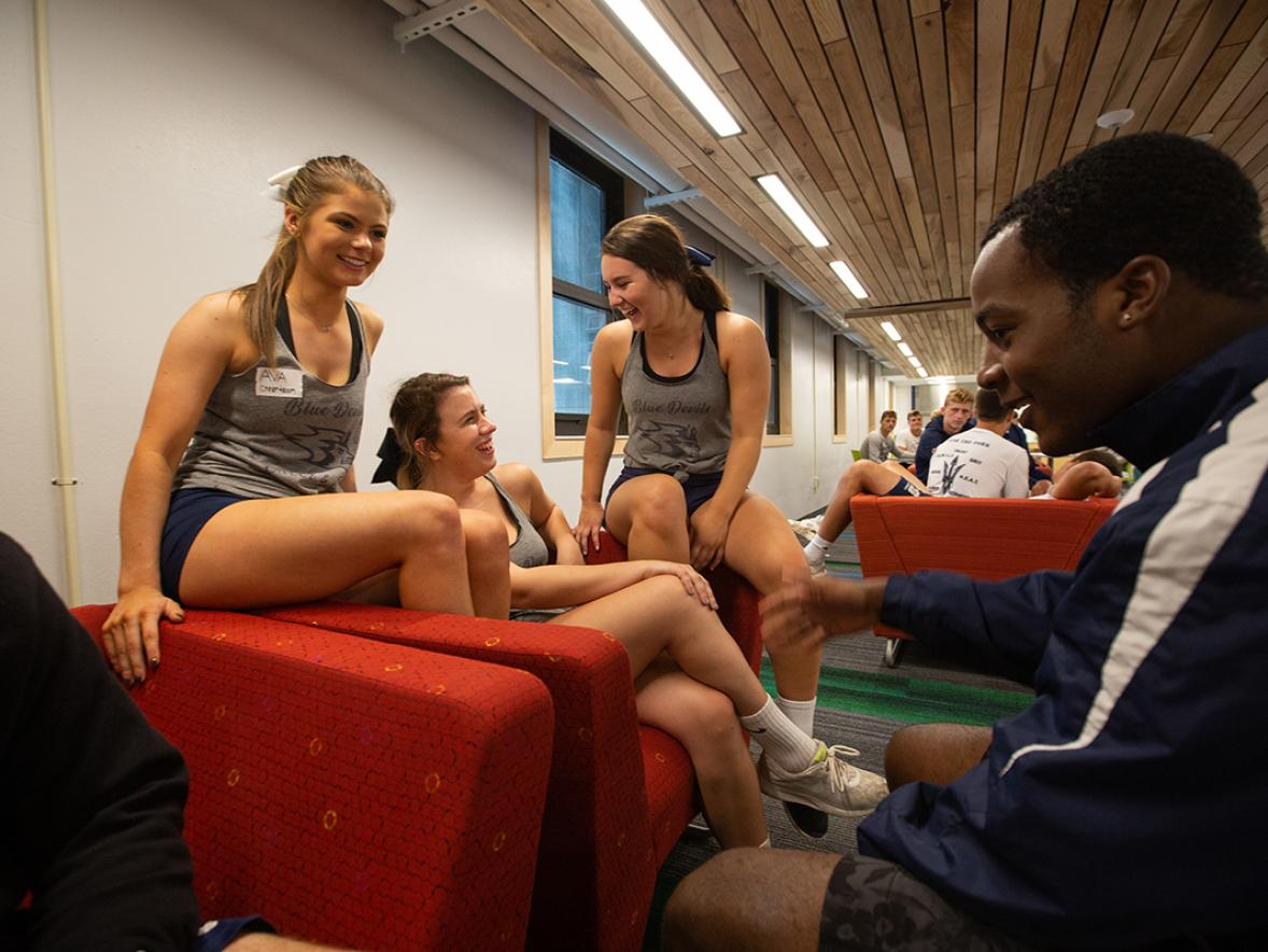 Students gather in one of the lounges in the newly renovated North Hall.