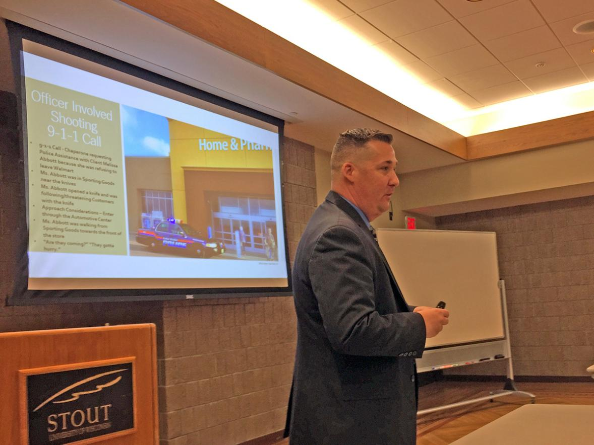 Lake Hallie Police Department Detective Adam Meyers talks about dealing with the emotions of having to shoot a woman with a hatchet in the Lake Hallie Walmart at the UW-Stout Criminal Justice and Rehabilitation Conference.