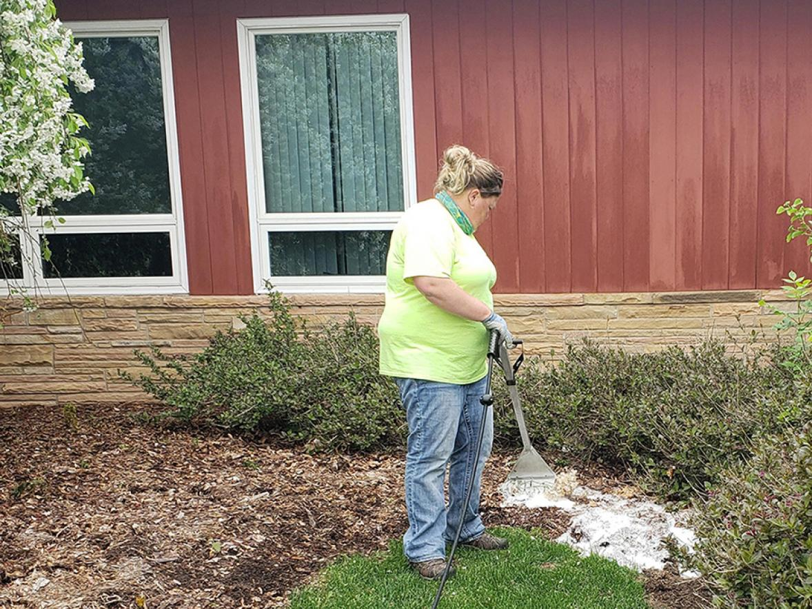 UW-Stout groundskeeper Kathy Branch uses the Foamstream machine on weeds near a campus building. The Foamstream uses a nontoxic method to kill weeds.