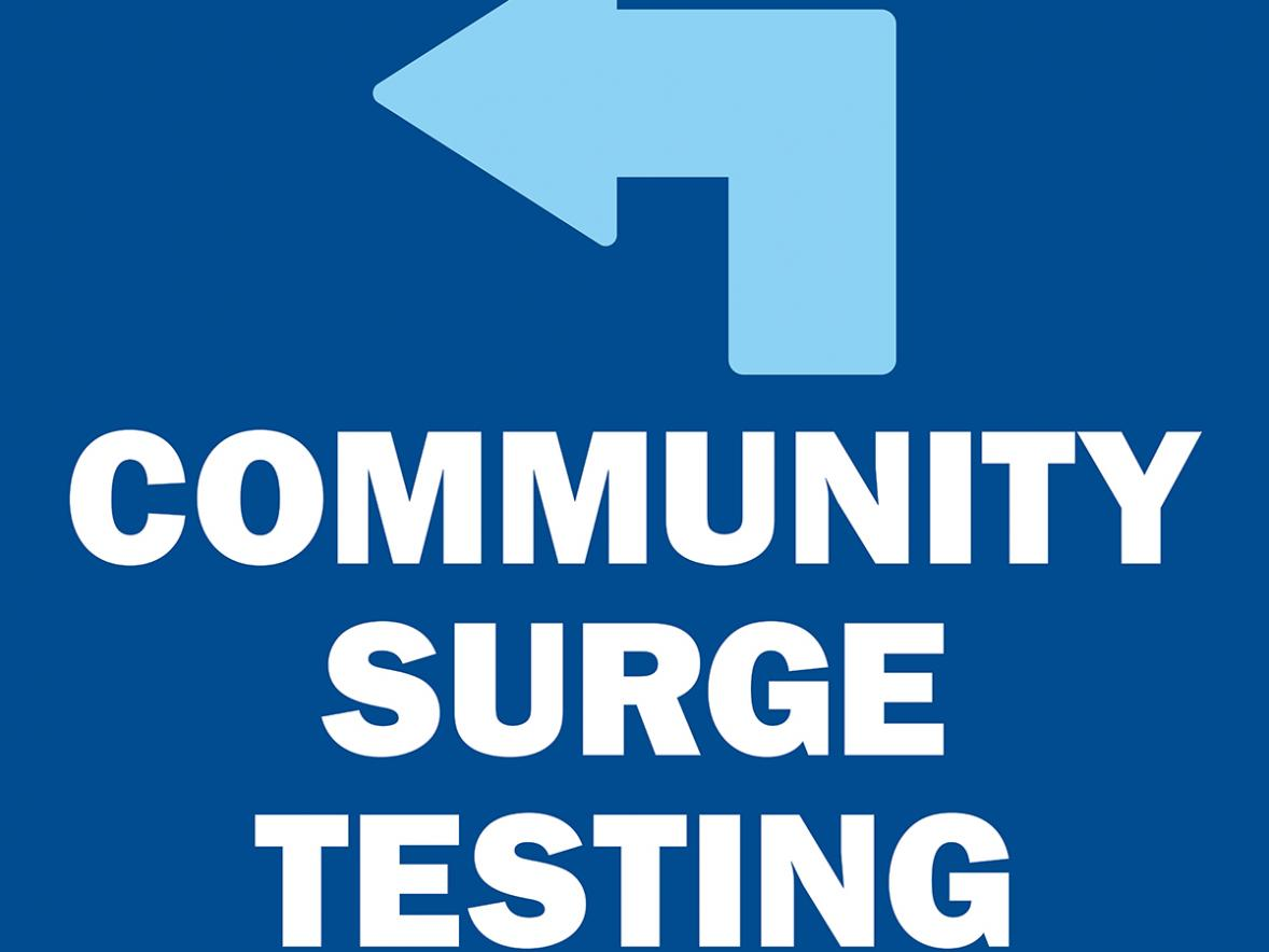 Signs will direct the public to the COVID-19 surge testing site at UW-Stout's Sports and Fitness Center.