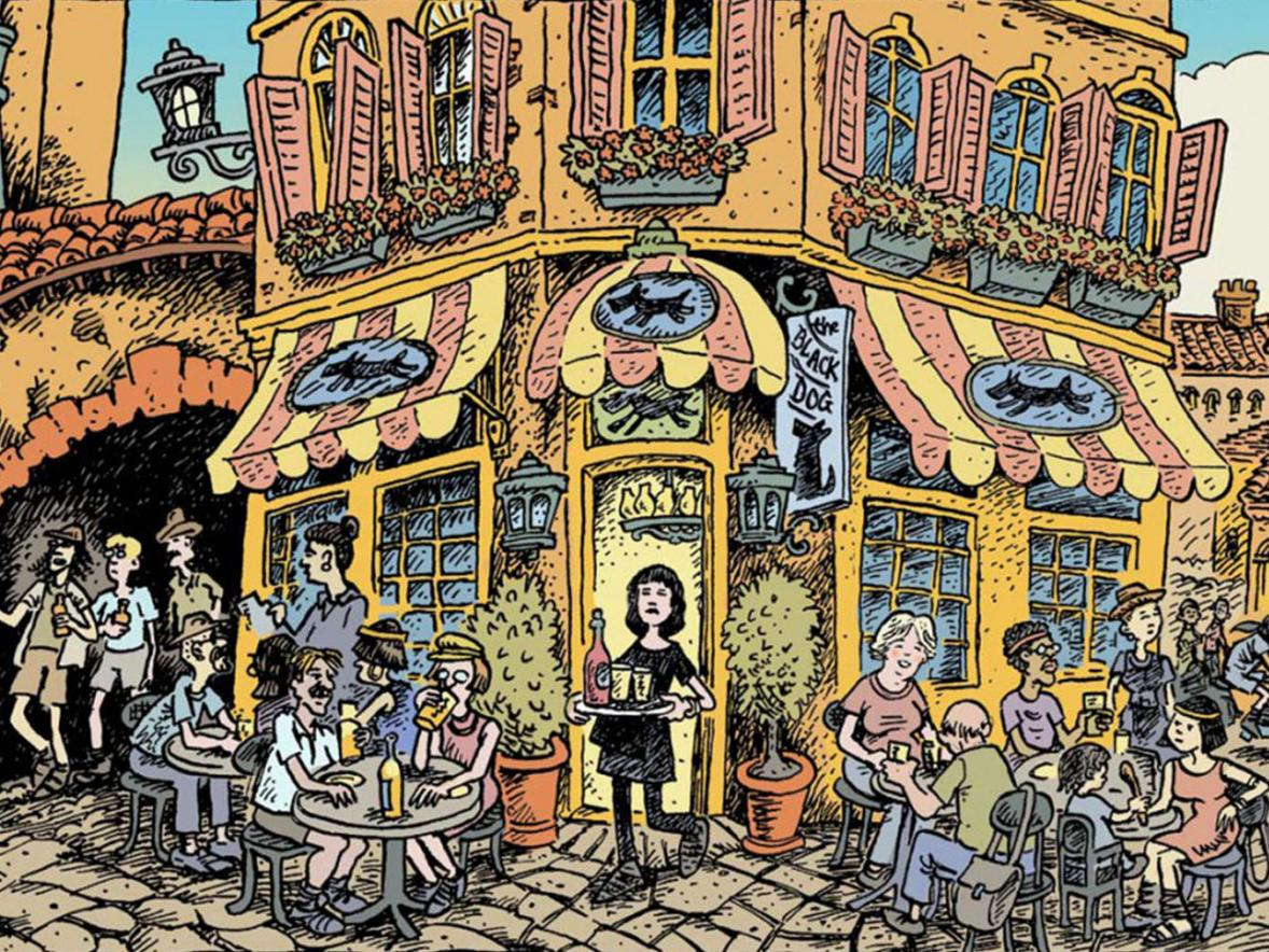 """The Black Dog"" cafe, an illustration from Ken Avidor's graphic novel ""Bicyclopolis."""
