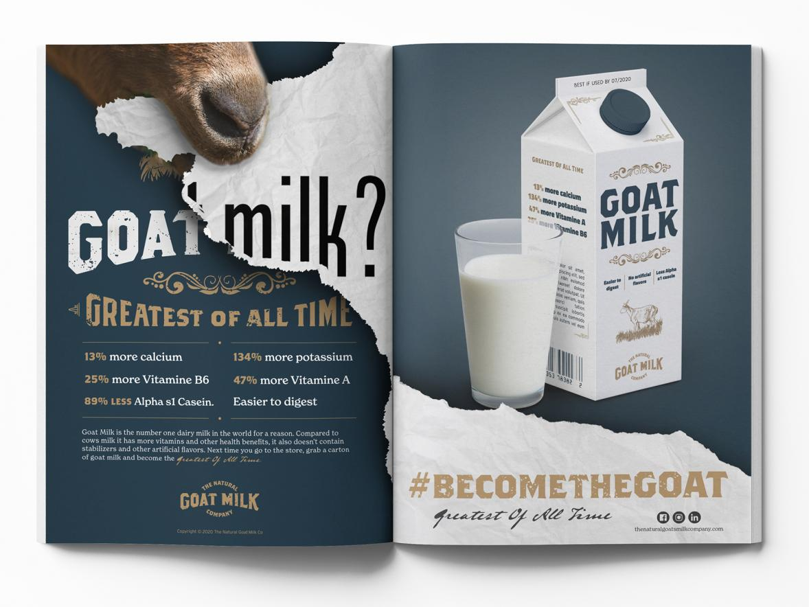 Daniel Nesja's Goat Milk? advertising campaign won Best in Show in the student division of the Minnesota AdFed competition.