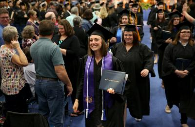 The spring Commencement ceremony is held for the College of Education, Hospitality, Health and Human Sciences in Johnson Fieldhouse.