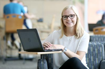 Roselyn Anderson, a senior from Eagan, MN majoring in Applied Social Science and Economics, and minoring in Business Administration, is photographed in the Memorial Student Center