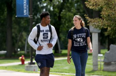 UW-Stout students are pictured interacting on campus together