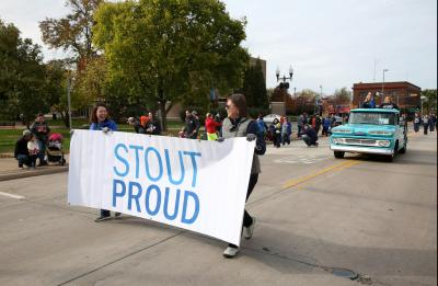 The UW-Stout Homecoming parade is photographed on Main Street in downtown Menomonie.
