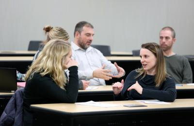 Students discuss topics during Associate Professor Deanna Schultz's Issues in Career and Technical Education class (CTE-708) in Jarvis Hall Friday, November 10, 2017.