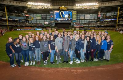 UW-Stout Symphonic Singers and Chamber Choir at Miller Park, before singing the National Anthem at a Brewers game. April 2017.