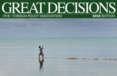 Cover of Great Decisions 2020, featuring a woman wading through rising tides.