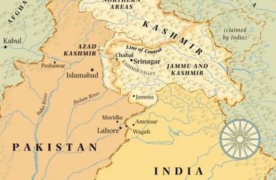 Map of Kashmir, between the India and Pakistan borders. May by Jeffrey Ward, featured in The New Yorker.
