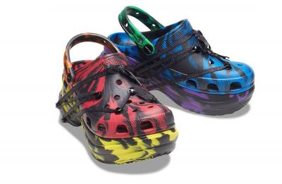 Alexander Mayhew's collaborative Ruby Rose X Crocs Pride Month clogs.