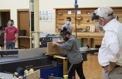 Photo of students in woodworking lab.