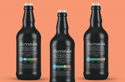 Samantha Krugel's spicy beer concept has bilingual labeling.